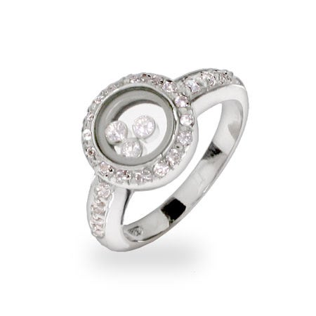 Designer Inspired Floating CZs Sterling Silver Circle Ring | Eve's Addiction®