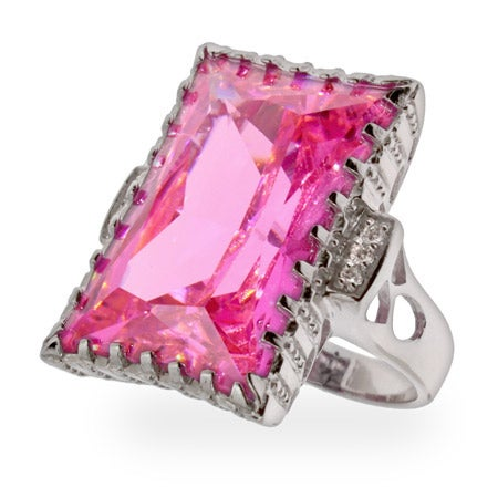 Celebrity Inspired Pink CZ Engagement Ring | Eve's Addiction®