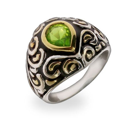Peridot Teardrop CZ Sterling Silver Bali Ring | Eve's Addiction®