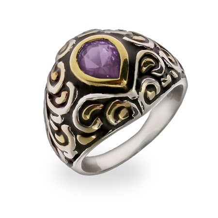 Amethyst Teardrop CZ Silver Bali Ring | Eve's Addiction®