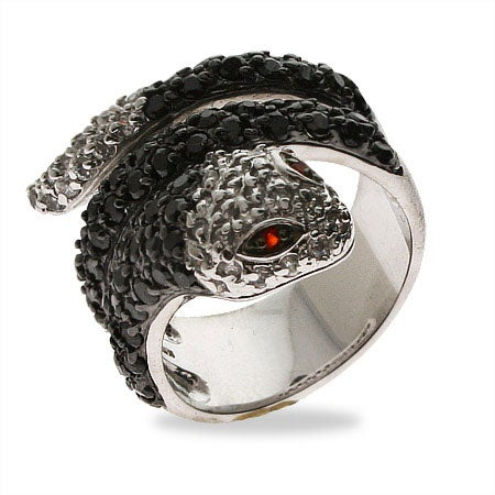 Onyx CZ Sterling Silver Snake Ring | Eve's Addiction®