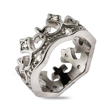 CZ Fleur de Lis Tiara Sterling Silver Ring | Eve's Addiction