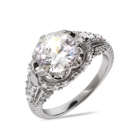 Brilliant Cut CZ Sterling Silver Engagement Ring with Bead Detailing | Eve's Addiction®