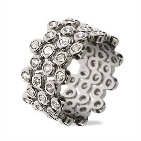 Designer Style CZ Bubbles Stackable Ring Set | Eve's Addiction®