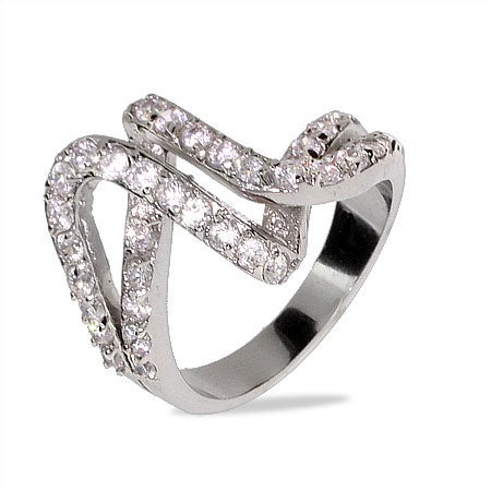Contemporary CZ Design Double Weave Ring   Eve's Addiction®