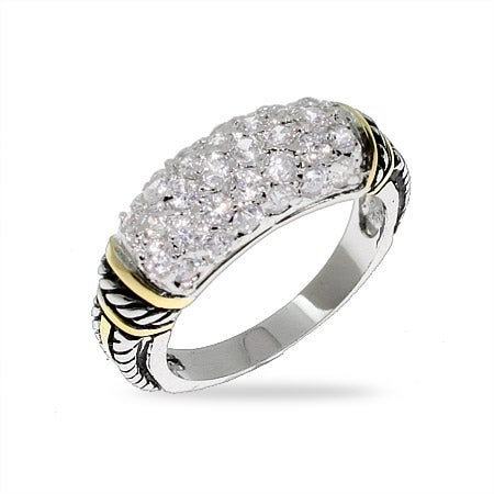 Designer Style Silver Bali Ring with Gold and Pave CZs | Eve's Addiction®