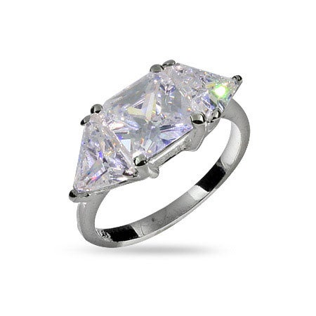Princess and Triangular Cut CZ Three Stone Promise Ring | Eve's Addiction®
