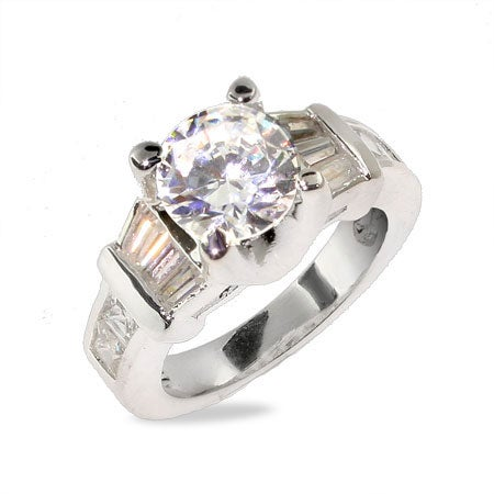 Glamorous 8mm CZ Engagement Ring in Sterling Silver | Eve's Addiction®