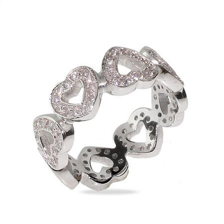Designer Style Band of CZ Hearts Sterling Silver Ring | Eve's Addiction®