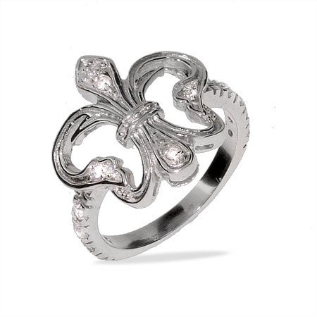 Victorian Style Silver & CZ Fleur de Lis Ring | Eve's Addiction®
