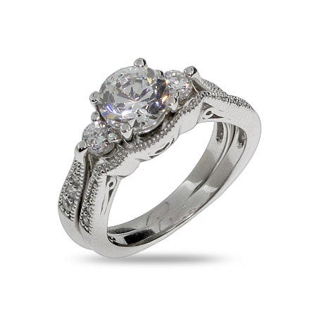 Brillant Cut CZ Three Stone Bridal Ring Set | Eve's Addiction®