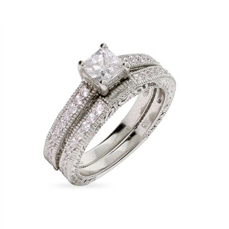 Vintage Style Princess Cut Engagement Ring Set | Eve's Addiction®