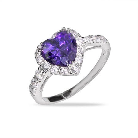 Purple Heart Sterling Silver Amethyst CZ Ring | Eve's Addiction®