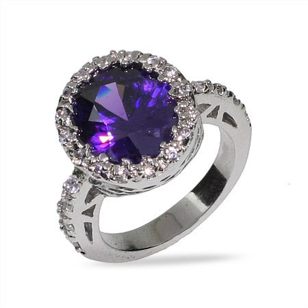 Purple Oval Cut Amethyst CZ Ring | Eve's Addiction®