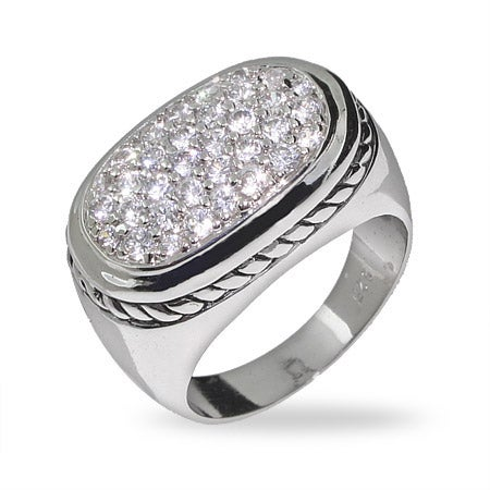 Modern Pave CZ Ring with Cable Detail | Eve's Addiction®