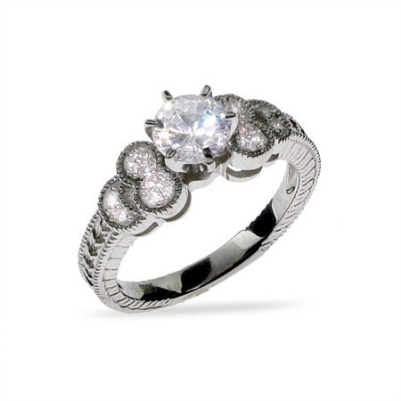 Sparkling CZ and Sterling Silver Engagement Ring | Eve's Addiction®