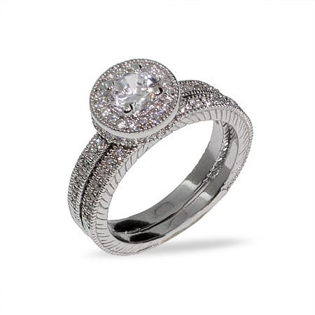 Brilliant Cut Heirloom CZ Wedding Ring Set | Eve's Addiction®