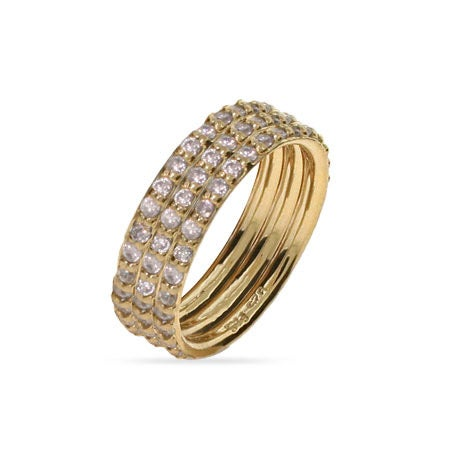 Gold Vermeil Triple Stackable CZ Ring Set | Eve's Addiction