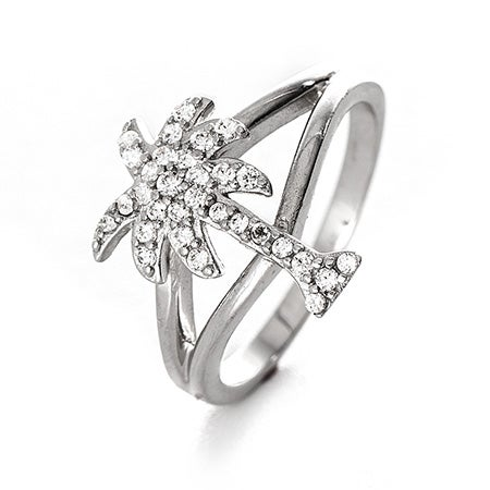 Palm Tree Split Band CZ Ring | Eve's Addiction®