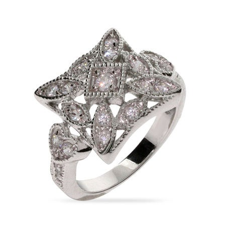 Square Shaped Vintage Style CZ Ring | Eve's Addiction®