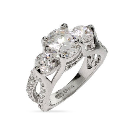 Elegant 3 Stone Engagement Ring | Eve's Addiction