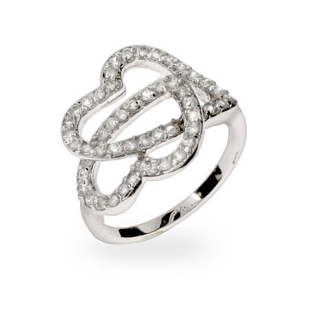 Sparkling Pave CZ Linked Hearts Ring | Eve's Addiction®