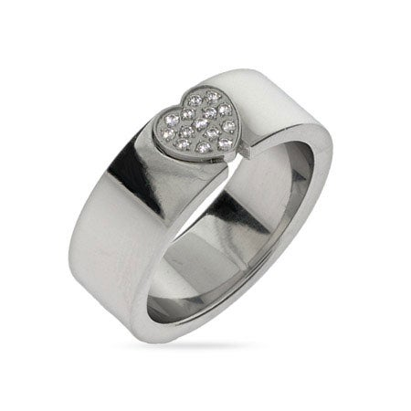 Pave CZ Heart Engravable Message Ring | Eve's Addiction®