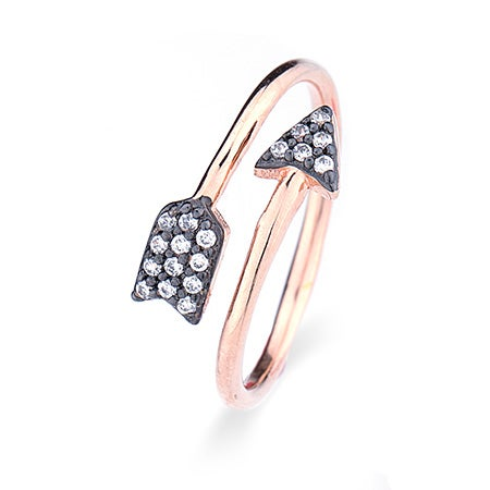 Black and Rose Gold CZ Arrow Ring | Eve's Addiction®