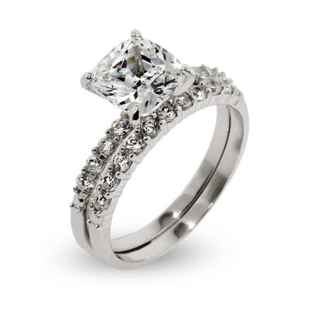 Celebrity Style Cushion Cut CZ Wedding Ring Set | Eve's Addiction®