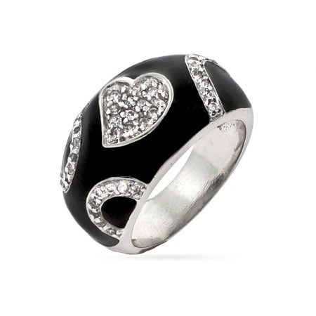 Designer Style Black Enamel CZ Heart Ring | Eve's Addiction®