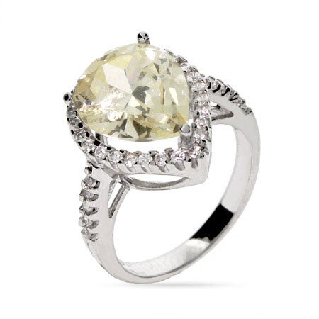 Pear Cut Canary Yellow CZ Engagement Ring | Eve's Addiction®
