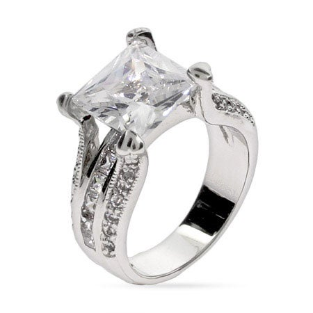 Celebrity Style Princess Cut CZ Engagement Ring | Eve's Addiction®