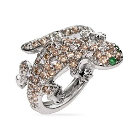 Designer Inspired Champagne & Emerald CZ Lizard Cocktail Ring | Eve's Addiction®