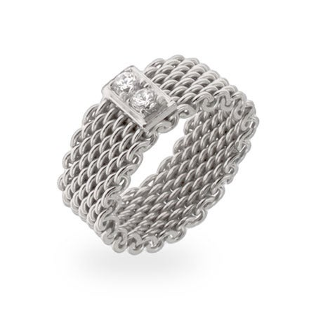 Designer Style CZ Bar Mesh Ring in Sterling Silver | Eve's Addiction®