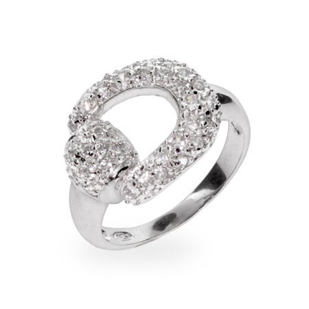 Designer Inspired Pave CZ Equestrian Horsebit Ring | Eve's Addiction®
