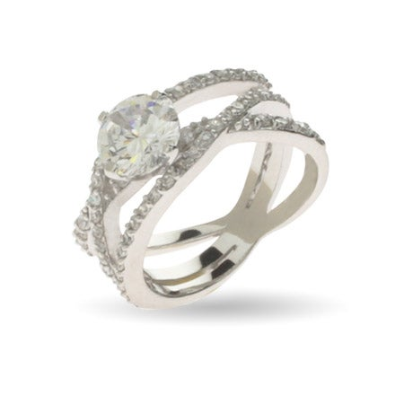 Glamorous Triple Band Brilliant Cut CZ Right Hand Ring | Eve's Addiction®