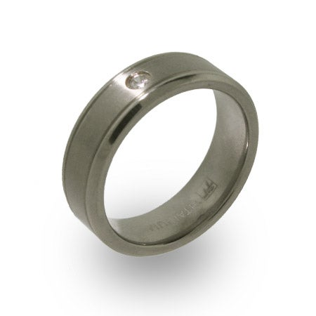 Titanium Mens Wedding Band with Single CZ | Eve's Addiction®