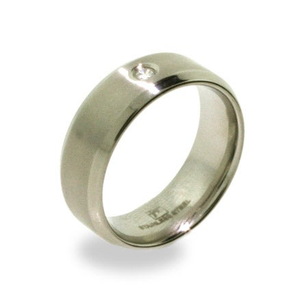 Brushed Stainless Steel Mens Ring with Inset CZ | Eve's Addiction®