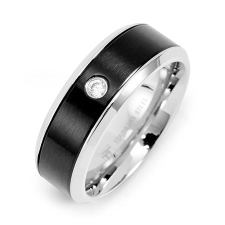 Engravable Men's Promise Ring with CZ in Stainless Steel