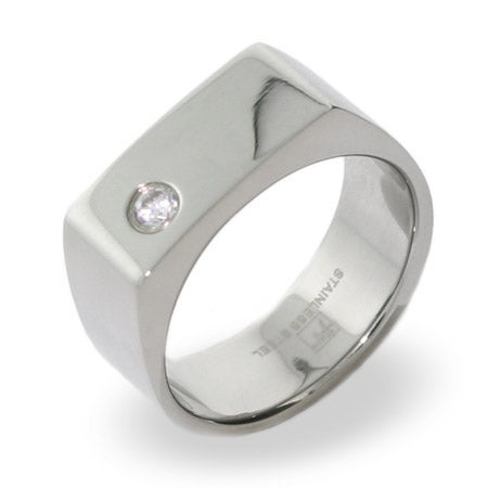 Stainless Steel Engravable Mens Signet Ring With Single CZ | Eve's Addiction®