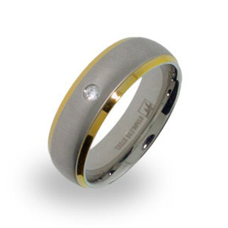 Mens Brushed Steel and Gold Wedding Band with Single CZ | Eve's Addiction®