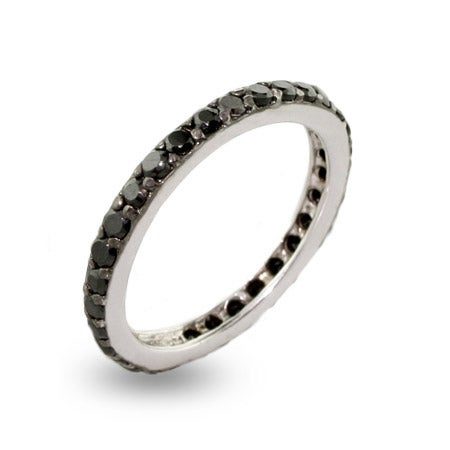 Black CZ Stackable Sterling Silver Ring | Eve's Addiction