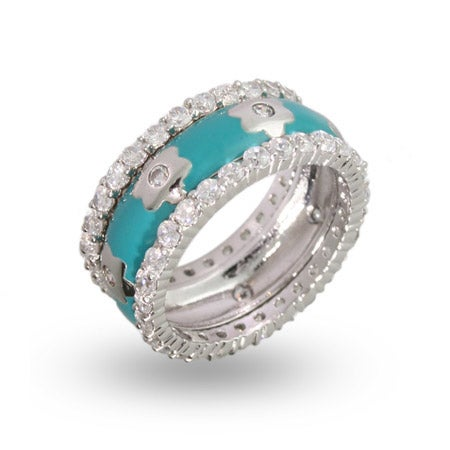 Designer Inspired Turquoise Enamel CZ Flower Stackable Ring Set | Eve's Addiction®
