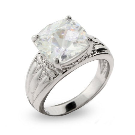 Celebrity Style Cushion Cut CZ Engagement Ring with Detailed Band | Eve's Addiction®