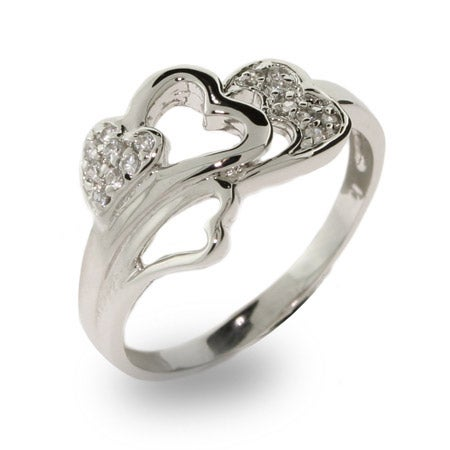 Cluster of Hearts Pave CZ Sterling Silver Ring | Eve's Addiction®