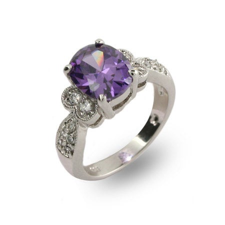 Dazzling Oval Cut Amethyst CZ Ring | Eve's Addiction®