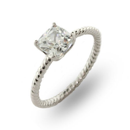 1 Carat Cushion Cut Solitaire CZ Sterling Silver Cable Ring | Eve's Addiction®