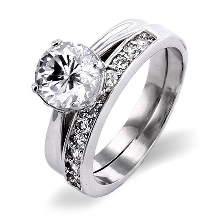CZ Engagment Ring on CZ filled Band | Eve's Addiction