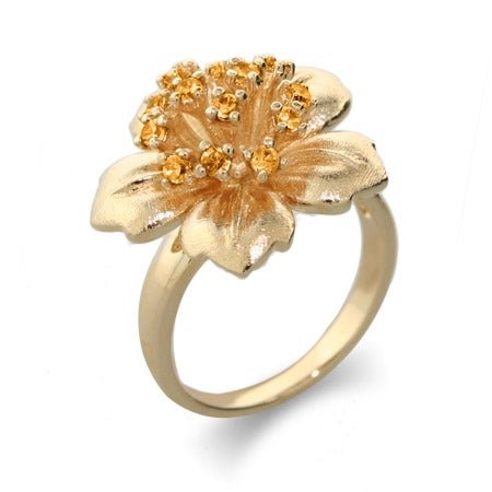 Gold Vermeil CZ Hibiscus Flower Ring | Eve's Addiction®