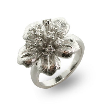 Sterling Silver and CZ Hibiscus Flower Ring | Eve's Addiction®